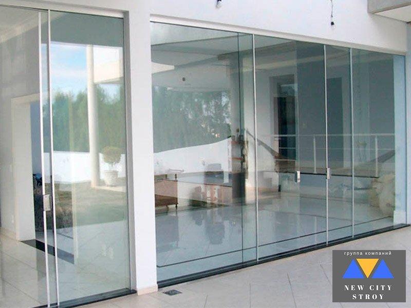 Раздвижные стеклянные двери для офиса